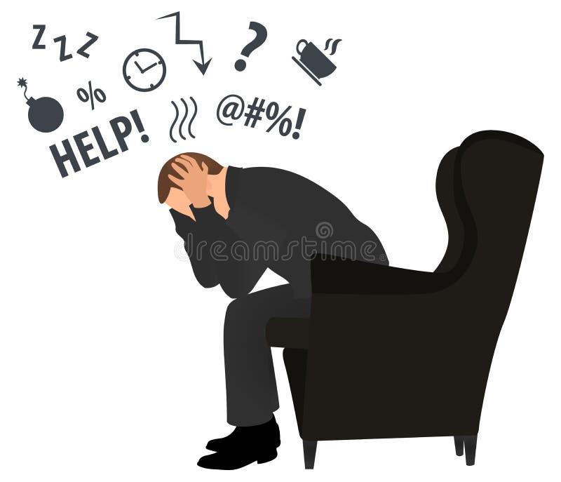 Opini?o do perfil o homem de neg?cios sobrecarregado Conceito da dor de cabe?a Esfor?o do neg?cio ilustra??o moderna do vetor do  ilustração stock