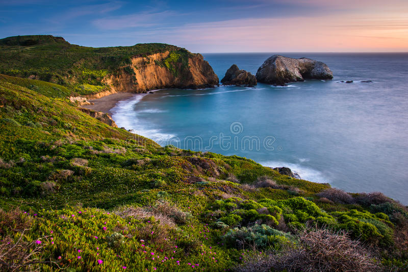 Opinião do por do sol da praia do rodeio, na recreação do nacional do Golden Gate foto de stock royalty free