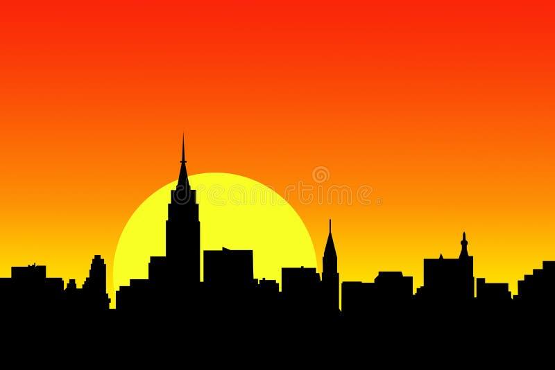 Opinião do por do sol da skyline da cidade ilustração stock