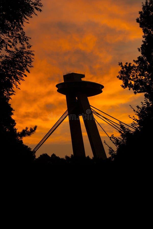 Opinião do por do sol do parque da cidade na ponte SNP sobre o Danúbio imagens de stock royalty free