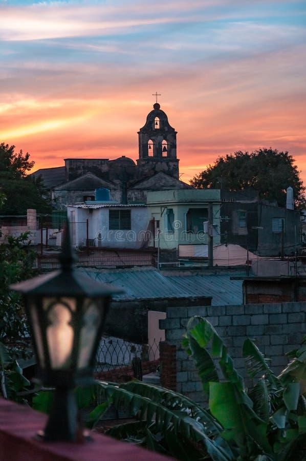 Opinião do por do sol em Santa Clara imagem de stock royalty free