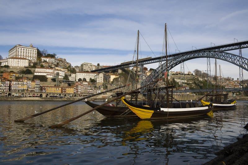 Opinião do Porto com a ponte do D. Luis fotografia de stock royalty free