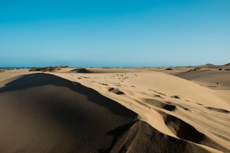 Opinião do rés do chão da duna do deserto no por do sol com o sol que bate duramente de cima de dar um sentido morno e quente com imagem de stock