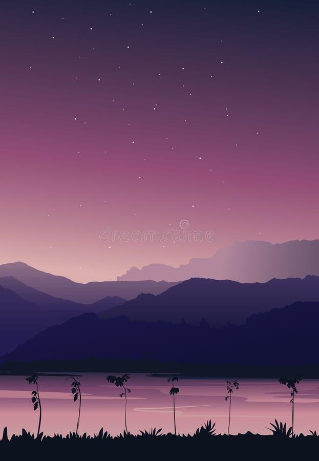 Opinião do retrato do fundo da natureza Montanha com o rio sob o céu cor-de-rosa com estrelas ilustração do vetor