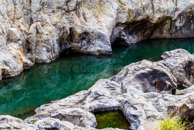 Opinião do rio na garganta de Somoto, Nicarágua fotografia de stock royalty free