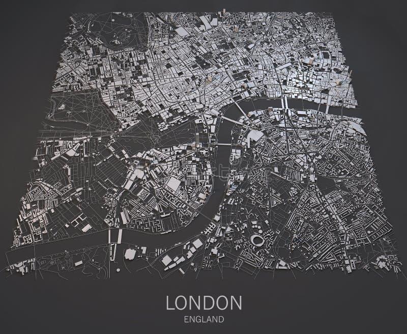 Opinião do satélite do mapa de Londres ilustração do vetor