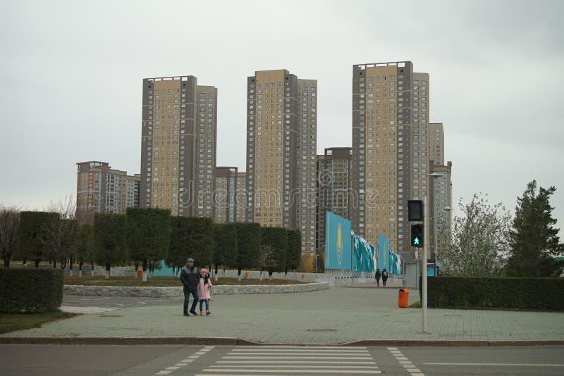 Opinião do stret de Astana de Cazaquistão fotos de stock