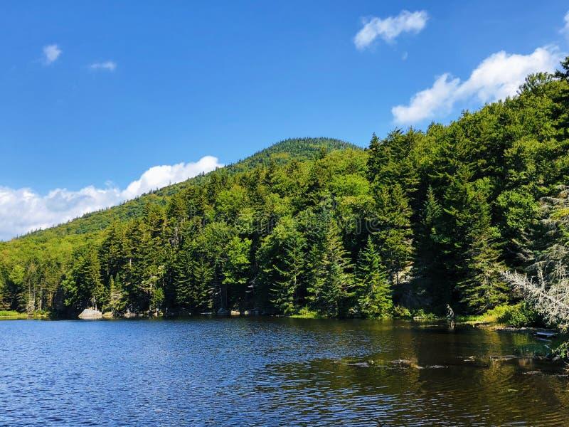 Opinião do verão do lago Saco em Crawford Notch fotografia de stock