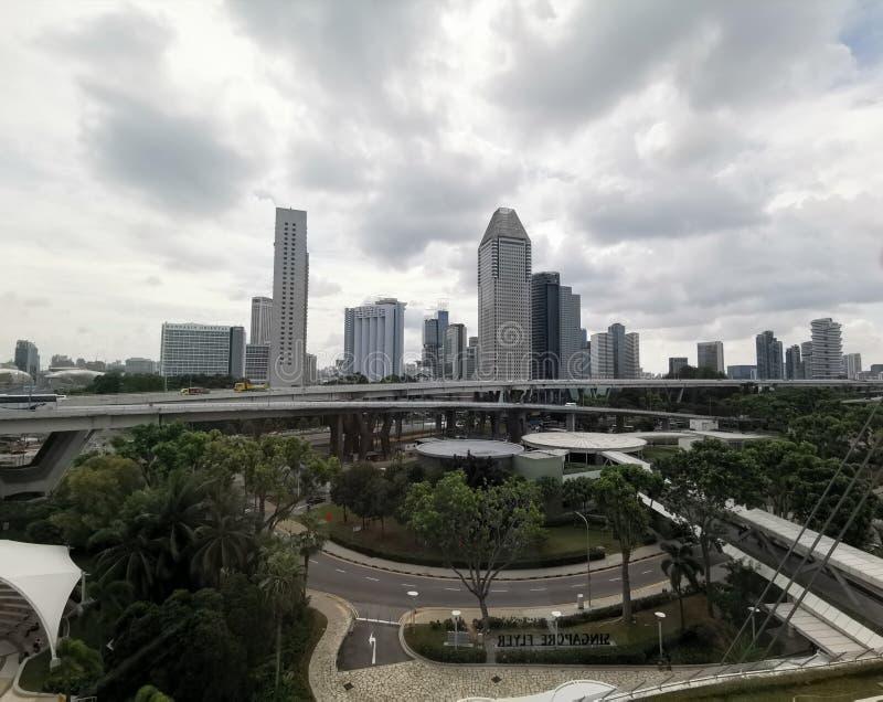 Opinião dos arranha-céus de Singapura do inseto de Singapura fotografia de stock royalty free