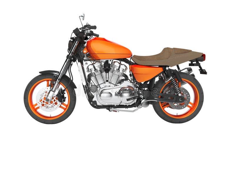 Opinião esquerda isolada 3d do conceito motocicleta moderna vermelha para não render no fundo branco nenhuma sombra ilustração royalty free