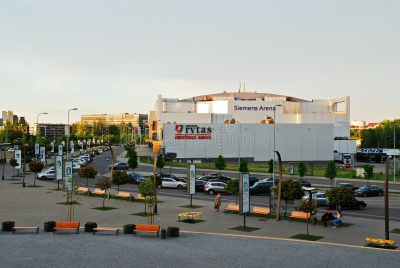 Opinião externo da arena de Vilnius Siemens o 14 de maio fotos de stock