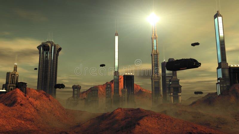 Opinião futurista da rua da cidade da ficção científica, digitalmente ilustração 3d ilustração do vetor