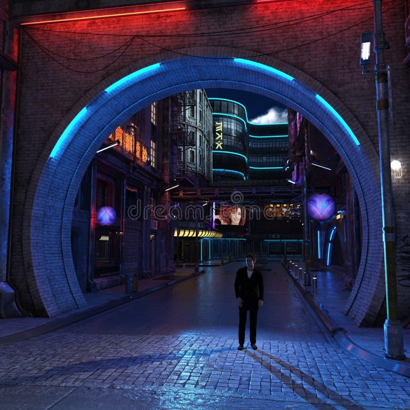 Opinião futurista urbana 3d da noite da cidade para render imagens de stock