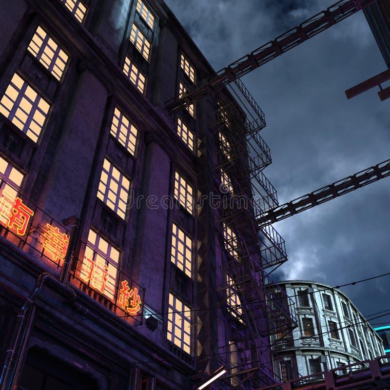 Opinião futurista urbana 3d da noite da cidade para render fotografia de stock royalty free