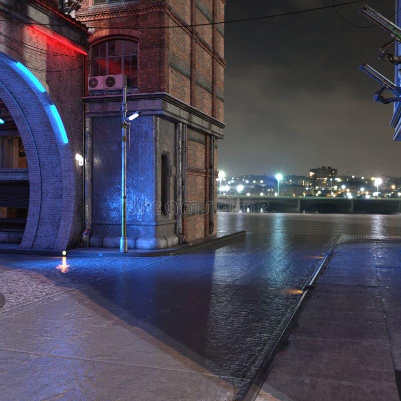 Opinião futurista urbana 3d da noite da cidade para render fotografia de stock