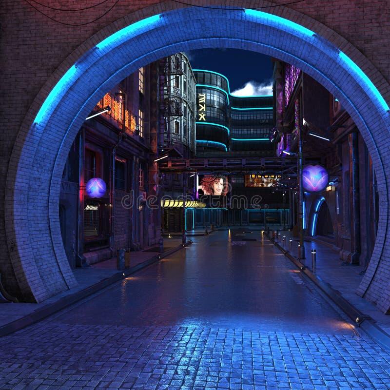 Opinião futurista urbana 3d da noite da cidade para render imagens de stock royalty free