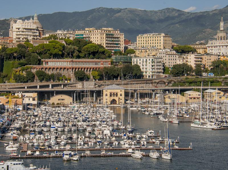 Opinião Genoa Port fotografia de stock