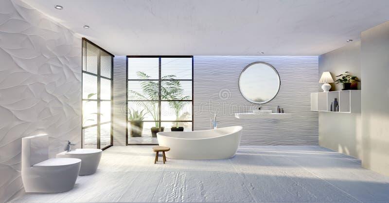 opinião geral da ilustração 3D do banheiro chave alto moderno ilustração do vetor