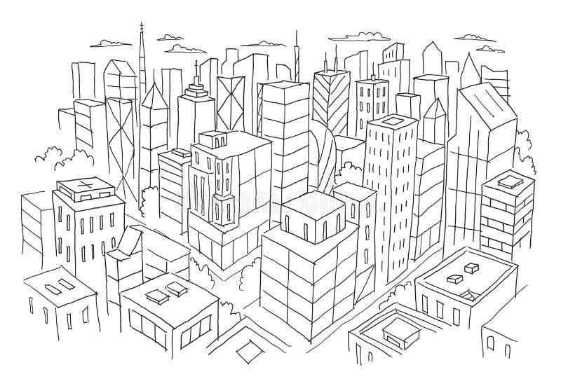 Opinião grande da cidade do esboço superior Linha tirada mão ilustração do estoque do vetor Paisagem da arquitetura da construção ilustração royalty free