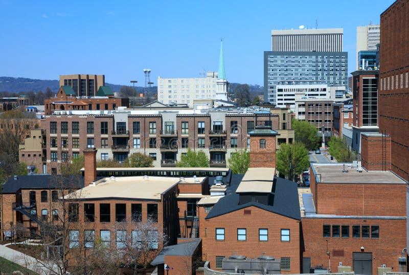Opinião Greenville South Carolina do telhado fotografia de stock royalty free