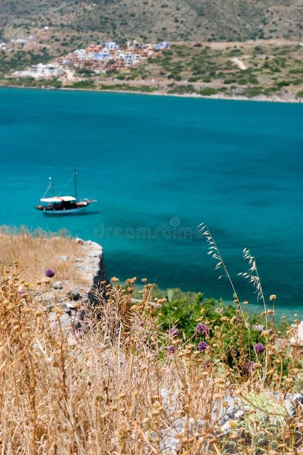Opinião grega do mar do console fotos de stock royalty free