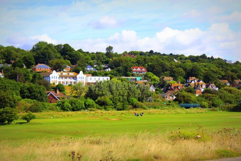 Opinião inglesa Hythe Kent Reino Unido do campo de golfe do campo imagens de stock royalty free