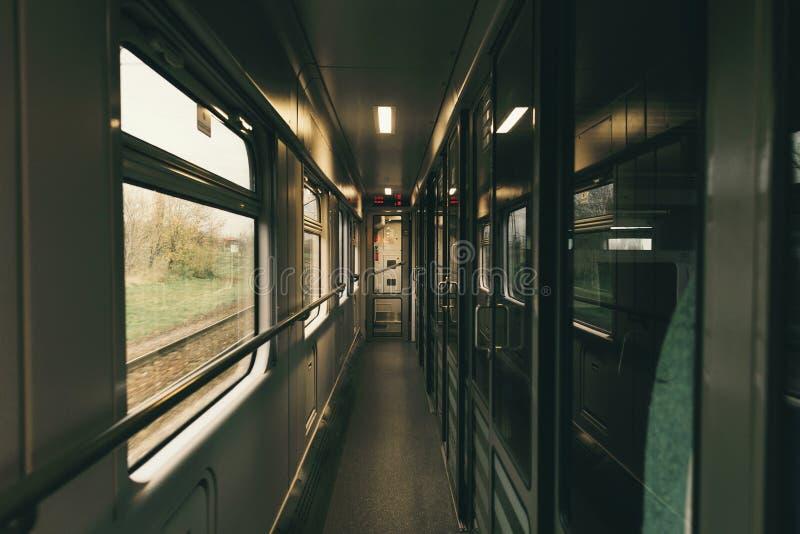 Opinião interior do trem do interior do transporte railway imagem de stock royalty free