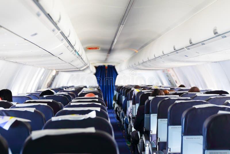 Opinião interna do avião imagem de stock