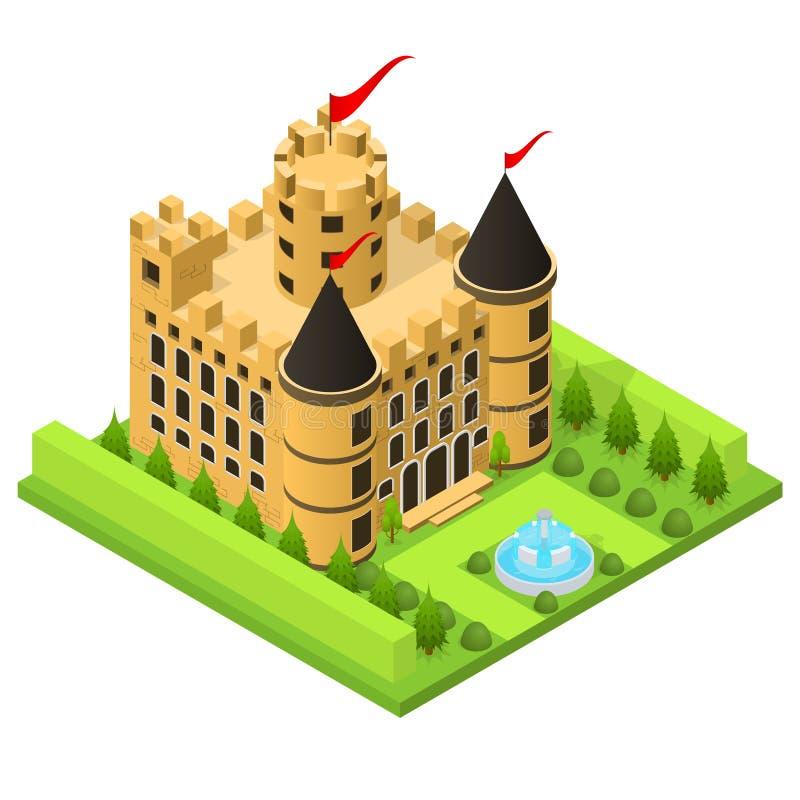 Opinião isométrica da casa medieval do conto de fadas do castelo Vetor ilustração stock
