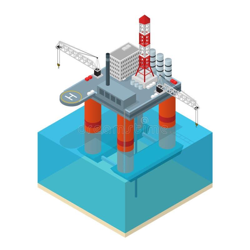 Opinião isométrica da plataforma da indústria petroleira Vetor ilustração stock