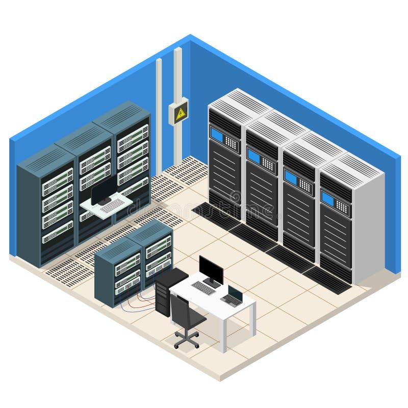 Opinião isométrica da sala interior do servidor Vetor ilustração royalty free