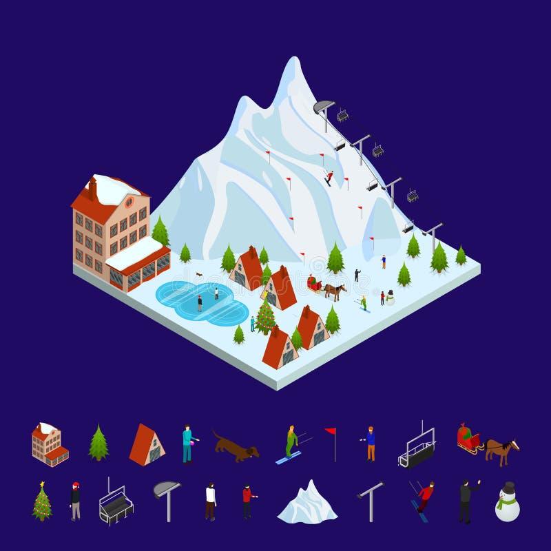 Opinião isométrica de Ski Resort Concept e dos elementos 3d Vetor ilustração royalty free