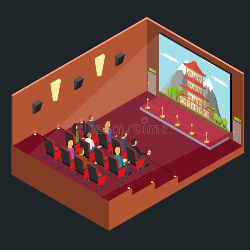 Opinião isométrica do auditório interior do filme do cinema Vetor ilustração stock