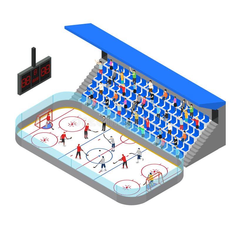 Opinião isométrica do conceito 3d da competição da arena do hóquei em gelo Vetor ilustração do vetor