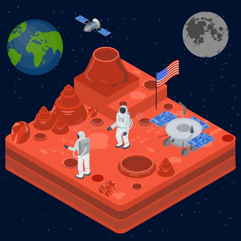 Opinião isométrica do conceito 3d da descoberta do espaço Vetor ilustração royalty free