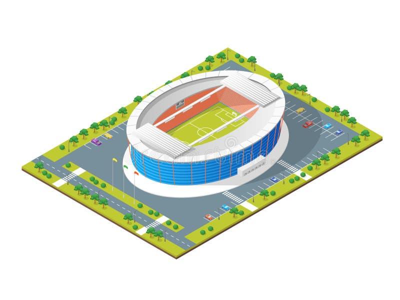 Opinião isométrica do conceito 3d do futebol do estádio de futebol Vetor ilustração royalty free