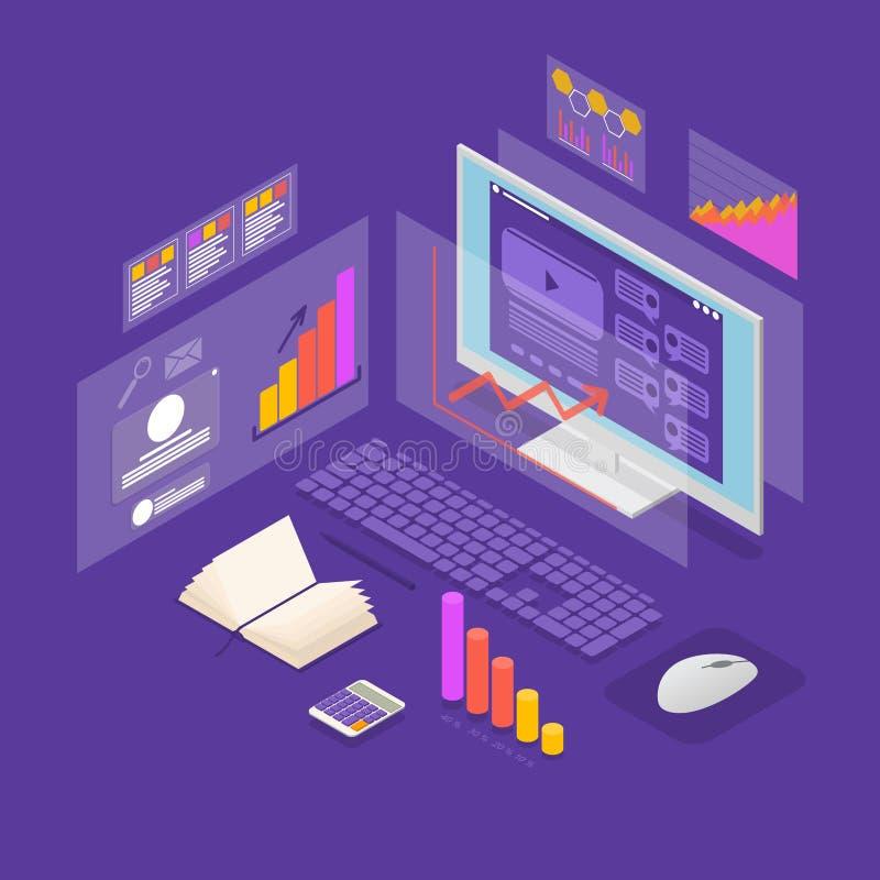 Opinião isométrica do conceito 3d do investimento dos dados da análise Vetor ilustração stock
