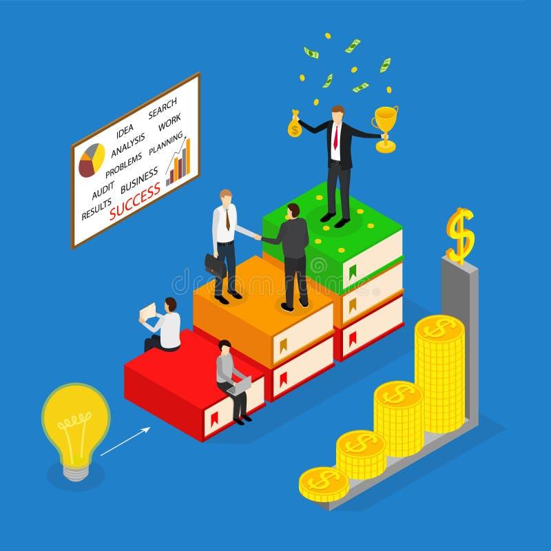 Opinião isométrica do conceito 3d do sucesso comercial do vencedor Vetor ilustração stock