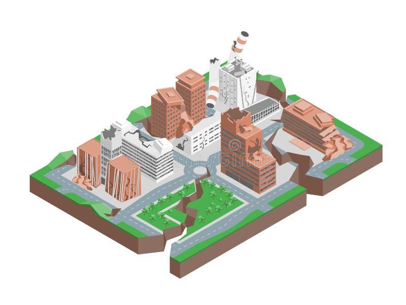 Opinião isométrica do conceito 3d do terremoto da batida da cidade Vetor ilustração royalty free