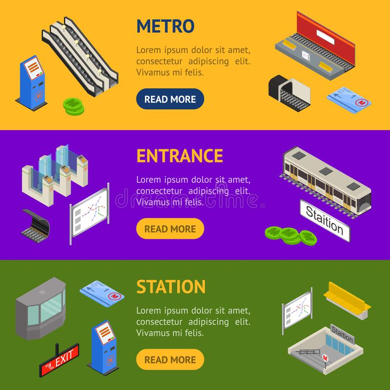 Opinião isométrica do grupo horizontal da bandeira da estação de metro 3d Vetor ilustração do vetor