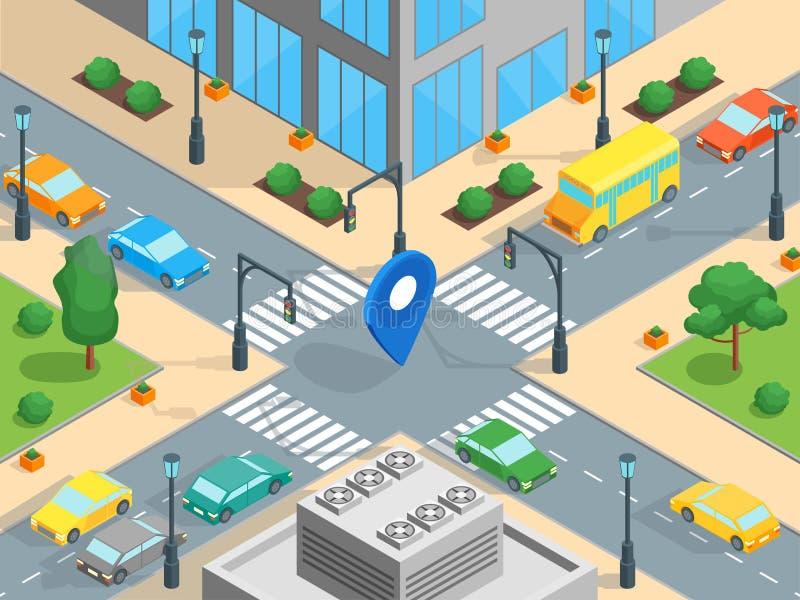 Opinião isométrica do molde do tráfego urbano Vetor ilustração stock