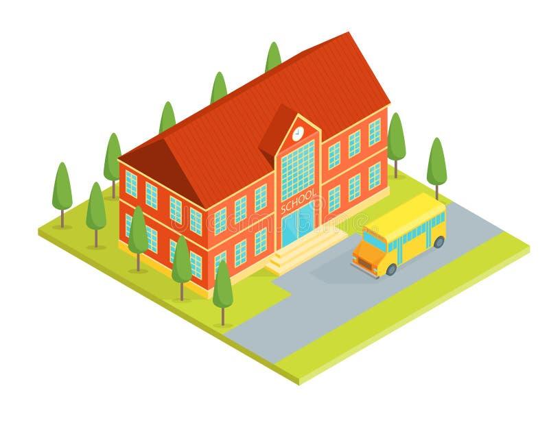 Opinião isométrica do prédio da escola Vetor ilustração do vetor