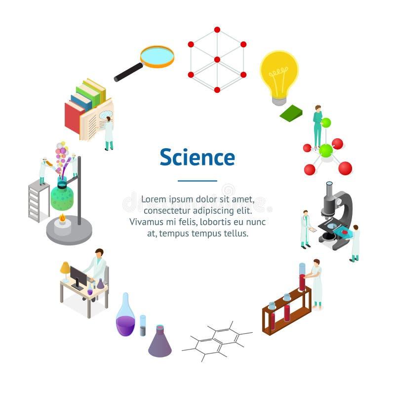 Opinião isométrica farmacêutica química do círculo 3d do cartão da bandeira do conceito da ciência Vetor ilustração royalty free