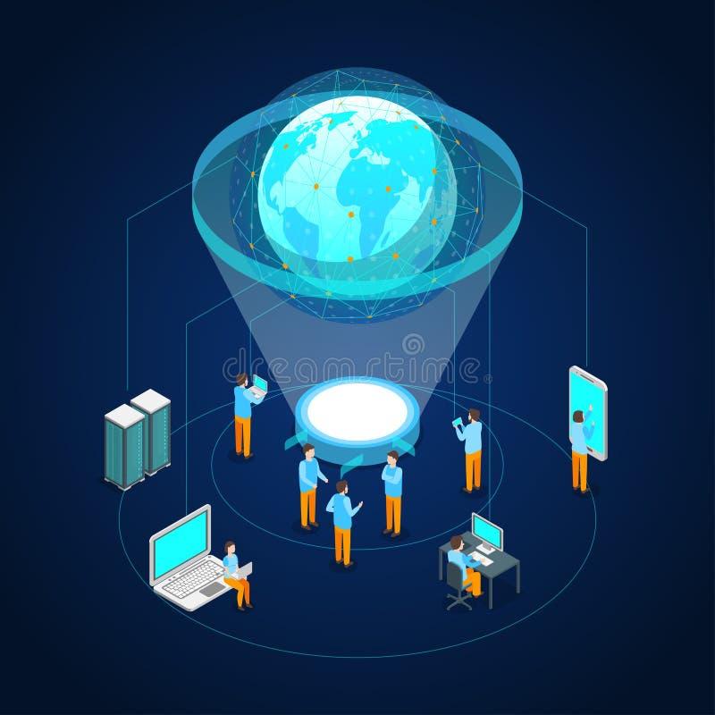 Opinião isométrica global do conceito 3d do Internet de uma comunicação Vetor ilustração royalty free