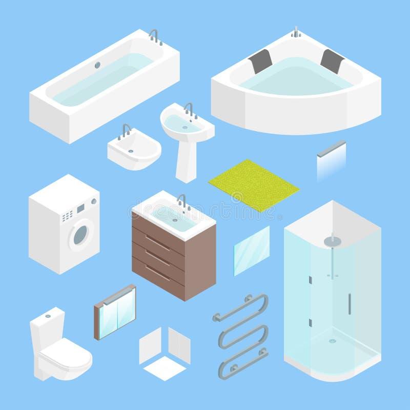 Opinião isométrica interior de grupo de elemento do banheiro da mobília Vetor ilustração stock