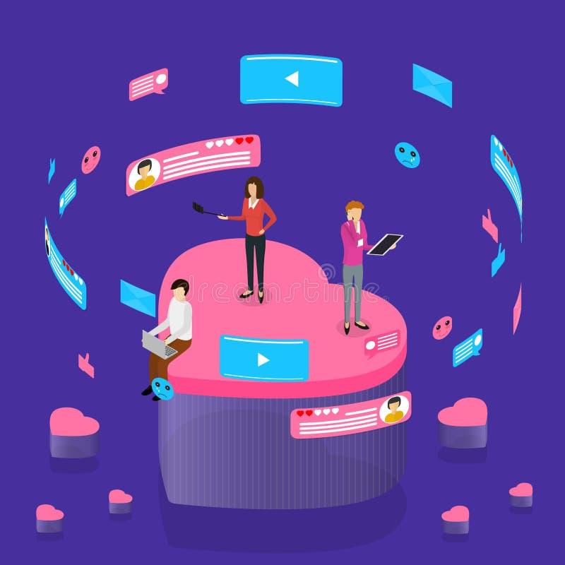 Opinião isométrica social do conceito 3d dos Internet de uma comunicação Vetor ilustração royalty free