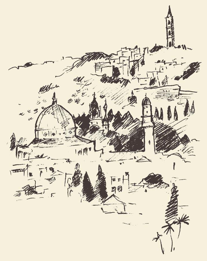 Opinião Israel Vintage Engraved Vetora da cidade do Jerusalém ilustração stock