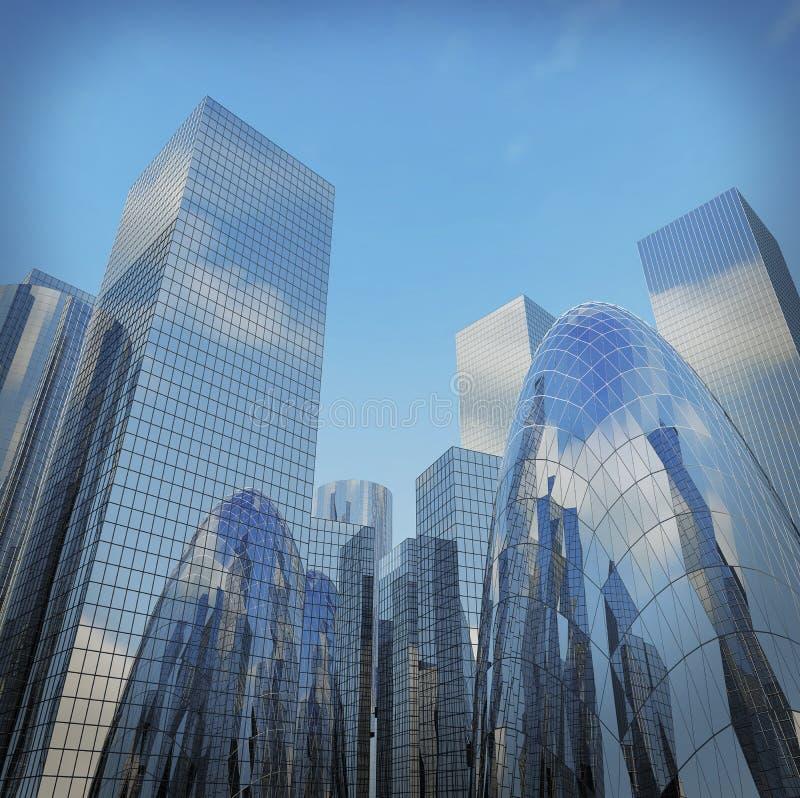 Opinião larga panorâmico e da perspectiva de ângulo à luz de aço - azul imagem de stock royalty free