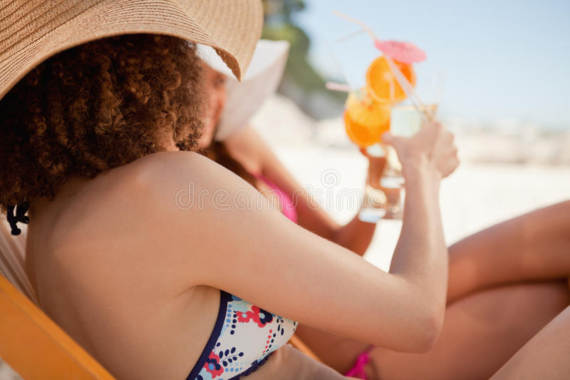 Opinião lateral as mulheres novas que clinking seus vidros imagem de stock