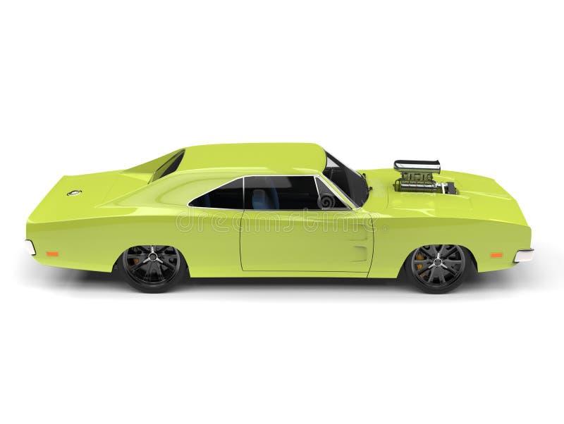 Opinião lateral automobilístico do músculo americano do vintage do verde-lima ilustração do vetor